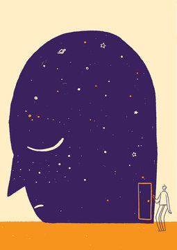 Illustration of space in man's head