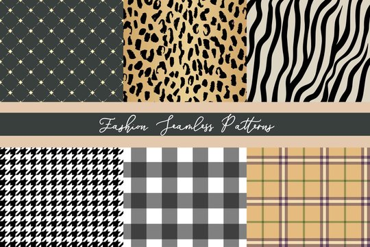 Set of trendy fashion seamless patterns collection, leopard, zebra, plaid, diamond, houndstooth and gingham