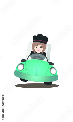 Wall mural Delivery icon forwebsite and application mobile, chef woman is driving a car to deliver the merchandise