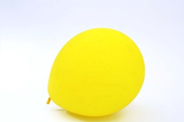 Picture of yellow balloon. Isolated on the white background.