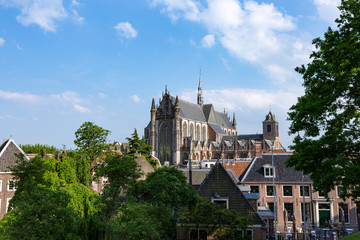 Hooglandse kerk (church) and rooftops in the historic city of Leiden, the Netherlands.