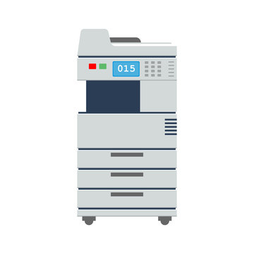 Big Office Multi-function Printer scanner or copier. Office printer icon. Flat color vector illustration.