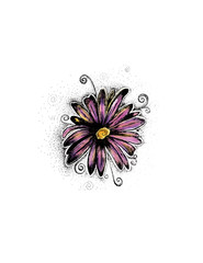 Flower Drawing, Tattoo Design, Daisy, Illustration, Hand Drawn, Pen and Ink, Stipple, Beautiful, Watercolor,