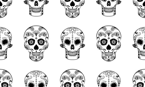 Vector seamless pattern of black sugar skull with doodle floral pattern on white background. Coloring page book for Mexican Day of the Dead. Dia de Muertos sugar skull background