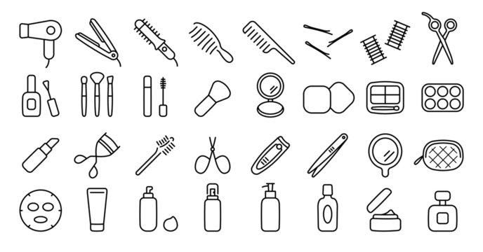 Beauty Cosmetics Icon (Thin Line Version)