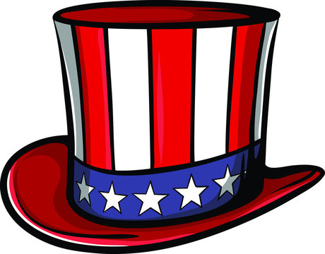 Uncle sam tall hat with usa flag. American independence day clothing.