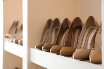 Collection of new female shoes on shelf in shop