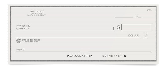 Torn off blank bank cheque. Personal desk check template with empty field to fill. Wall mural