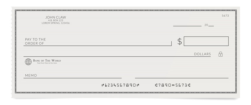 Torn off blank bank cheque. Personal desk check template with empty field to fill.