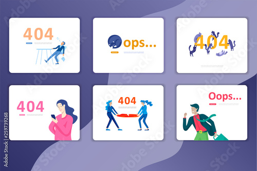 Landing page templates Error page illustration with People