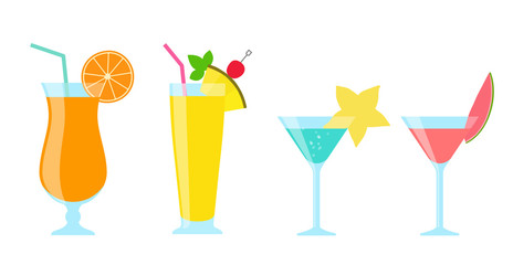 Tropical juice and cocktail illustration set