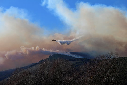 a canadair airplane shoots water on a big fire in the Pisan mountains