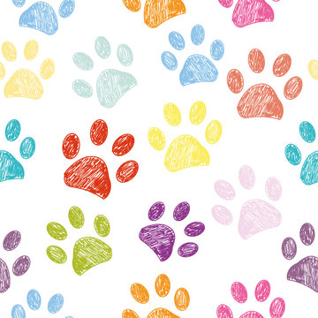 Seamless colorful paw print background.zip