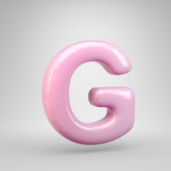 Bubble Gum pink letter G uppercase isolated on white background