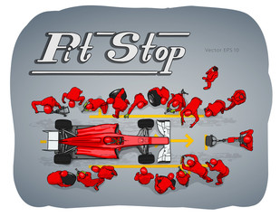 Formula race car in pit stop vector sketch