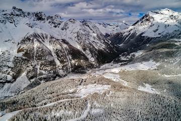 Valmalenco (IT) - Vista aerea invernale in zona San Giuseppe
