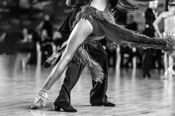 dancers man and woman dancing latin program black-and-white photo