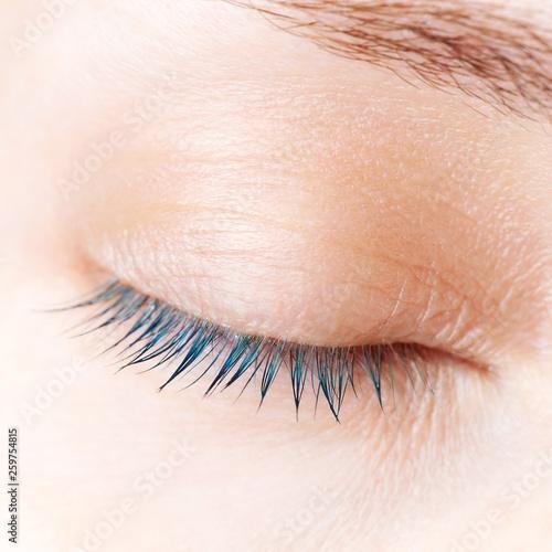 Women\'s eyelashes close up. Eyelash Coloring\