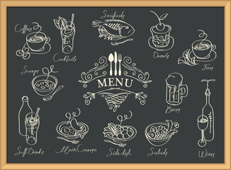 Vector restaurant menu with sketches of different dishes and handwritten inscriptions. Contour drawings in retro style. Drawing chalk on the blackboard