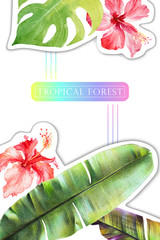 Background with watercolor green tropical leaves of banana, monstera and red hibiscus flowers. Summer template with exotic plants and place for text, advertising or other information.