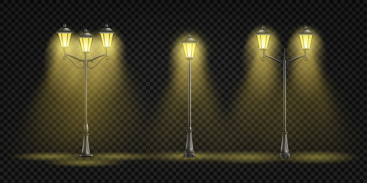 Vintage street lights glowing with yellow light 3d realistic vector set isolated on transparent background. Retro architecture design elements collection Victorian era lamppost, lantern illustration