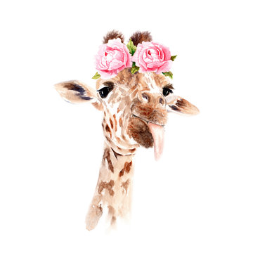 watercolor drawing of an animal - giraffe in flowers