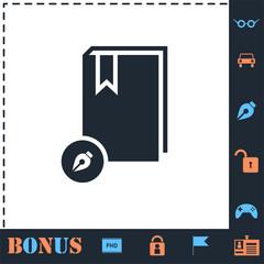 Book write icon flat