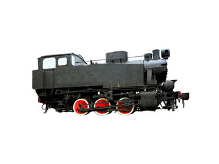 Vintage steam train isolated on white background. Train, old locomotive