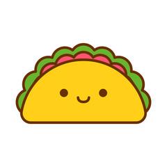 Cartoon Cute Taco Icon Isolated On White Background