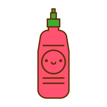 Cartoon Cute Hot Sauce Icon Isolated On White Background
