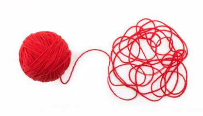 Ball of yarn on the white background