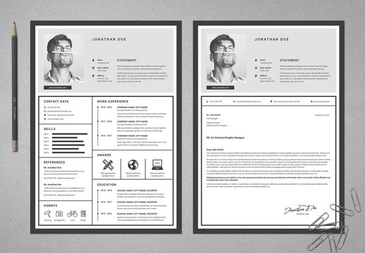 Resume and Cover Letter Layout in Grayscale