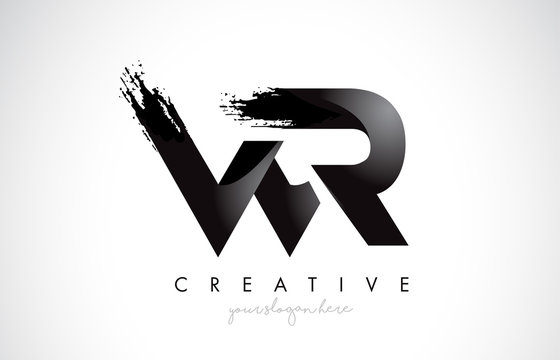 WR Letter Design with Brush Stroke and Modern 3D Look.