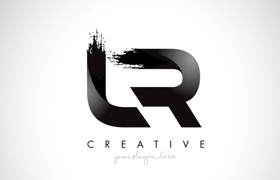 LR Letter Design with Brush Stroke and Modern 3D Look.