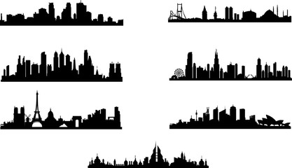 Silhouette of different cities.