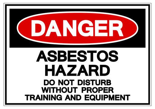 Danger Asbestos Hazard Symbol Sign, Vector Illustration, Isolated On White Background Label .EPS10
