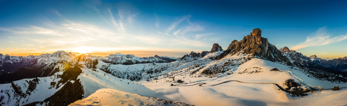 View of Ra Gusela peak in front of mount Averau and Nuvolau, in Passo Giau, high alpine pass near Cortina d'Ampezzo, Dolomites, Italy