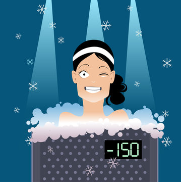 Woman undergoing a whole body cryotherapy treatment in a cryosauna, EPS 8 vector illustration, no transparencies