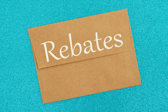 Rebates text on a brown envelope
