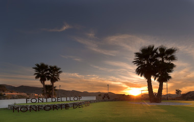 Sunset at the golf course called Font del Llop, municipality of Monforte del Cid, Alicante, Spain.