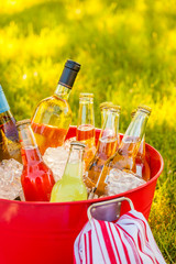 Cold beverages wine, beer and soda on ice in red bucket pail tub on green grass. Summer outdoor backyard garden party picnic.