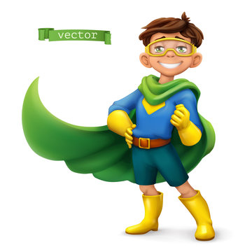 Little boy in superhero costume with green coats. Comic character, vector illustration
