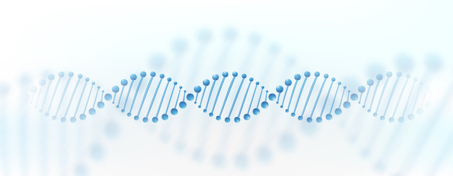DNA chromosome banner concept. Science technology vector background for biomedical, health, chemistry design. 3D style