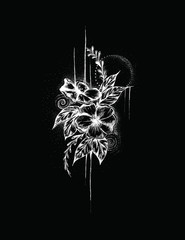 Dark Art Flowers, Tattoo Design, Black and white, Flower Collage, Gothic Drawing, Hand Drawn, Illustration, Design