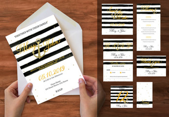 Striped Wedding Suite with Gold Anchor Element