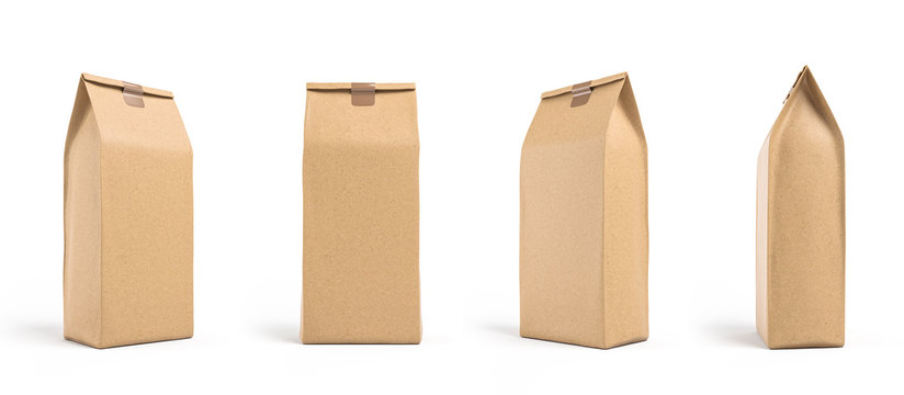 Brown paper bag packaging template isolated on white background. Front and back view