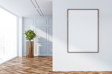 Empty room interior with white wall poster