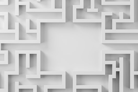 Top view of white complicated maze