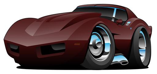 Garden Poster Cartoon cars Classic Seventies American Sports Car Cartoon Isolated Vector Illustration