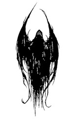 Shadow of Satan, devil, Lucifer, Demon, death. Black white on a white background